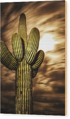 Wood Print featuring the photograph Full Moon Saguaro by Anthony Citro
