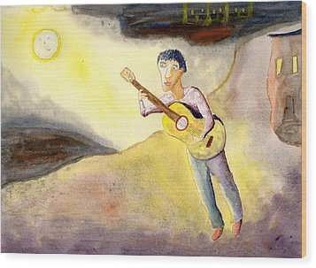 Full Moon Serenade  Wood Print