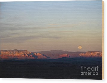 Full Moonrise Over Red Rocks Of Sedona Wood Print