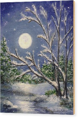 Full Snow Moon Wood Print