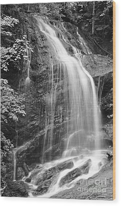 Fuller Falls Waterfall Black And White Wood Print
