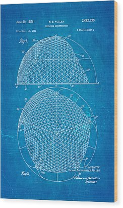 Fuller Geodesic Dome Patent Art 1954 Blueprint Wood Print by Ian Monk