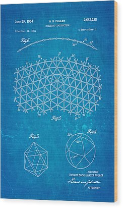 Fuller Geodesic Dome Patent Art 2 1954 Blueprint Wood Print by Ian Monk