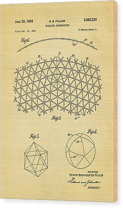 Fuller Geodesic Dome Patent Art 2 1954  Wood Print by Ian Monk