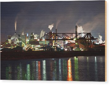 Wood Print featuring the photograph Fumes From Steel Mill In Hamilton Harbour by Marek Poplawski