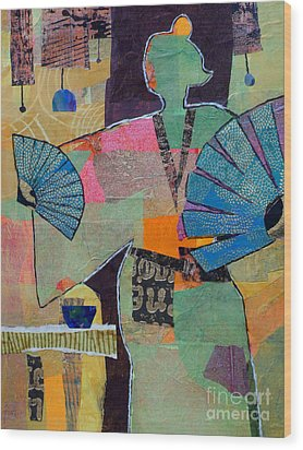 Fumiko's Fan Dance Wood Print by Melody Cleary