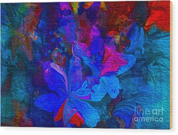 Fun Abstract Flowers In Blue Wood Print by Sherri's Of Palm Springs