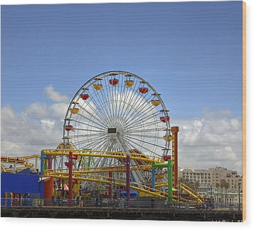 Fun At Santa Monica Pier Wood Print by Kim Hojnacki