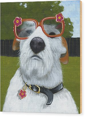 Fun In The Sun ... Dog With Glasses Painting Wood Print by Amy Giacomelli