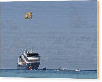 Fun In The Sun - Ship At Anchor Wood Print by Michael Flood