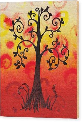 Fun Tree Of Life Impression IIi Wood Print by Irina Sztukowski