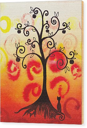 Fun Tree Of Life Impression Iv Wood Print by Irina Sztukowski