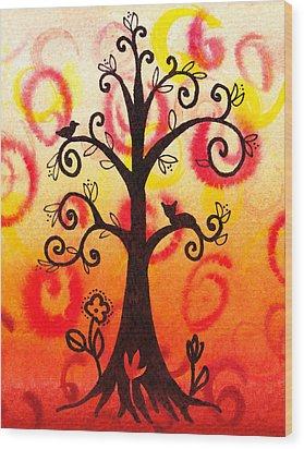 Fun Tree Of Life Impression V Wood Print by Irina Sztukowski