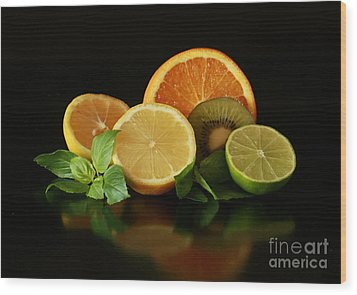 Fun With Citrus And Kiwi Fruit Wood Print by Inspired Nature Photography Fine Art Photography