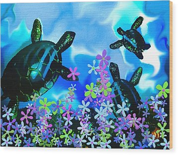 Fun With Sea Turtles Wood Print by Lady Ex