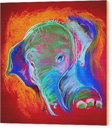 Funky Baby Elephant Blue Wood Print