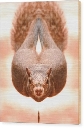 Flying Funky Brown Squirrel Wood Print by Belinda Lee