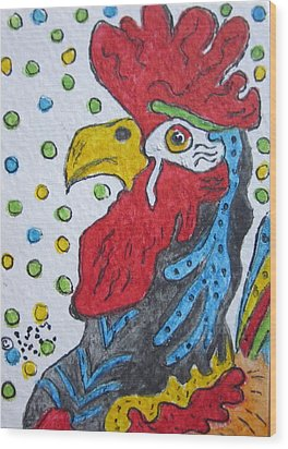 Funky Cartoon Rooster Wood Print