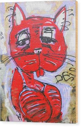Funky Feline Wood Print by Ramona Johnston