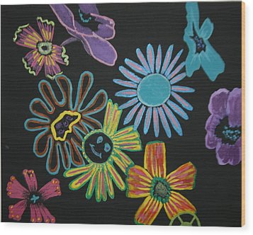 Funky Flowers Wood Print by Betty-Anne McDonald