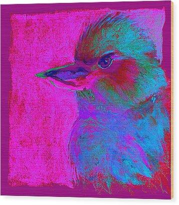 Funky Kookaburra Australian Bird Art Prints Wood Print