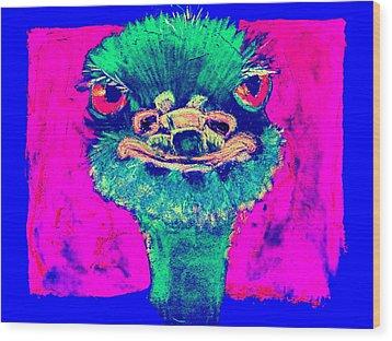 Funky Ostrich Cool Dude Art Prints Wood Print