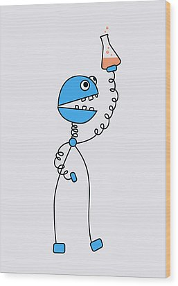 Funny Cartoon Robot Chemist Wood Print