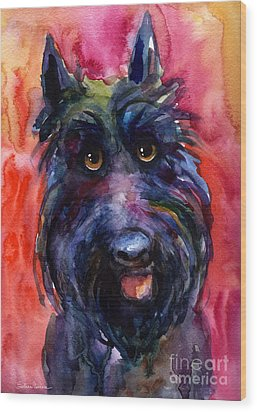 Funny Curious Scottish Terrier Dog Portrait Wood Print by Svetlana Novikova
