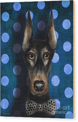 Funny Doberman Pincher Gentleman Dog Portrait Wood Print by Svetlana Novikova