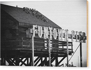 Funtown Pier Wood Print by John Rizzuto