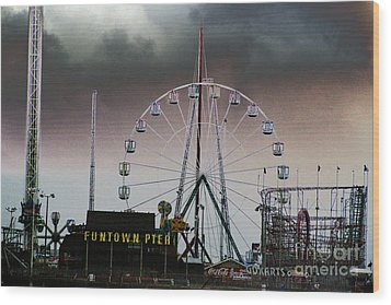 Funtown Pier Wood Print by Kathy Flugrath Hicks