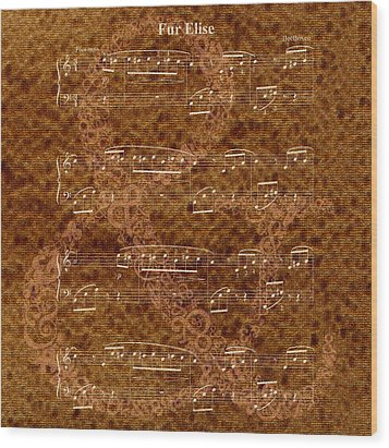 Fur Elise Music 2 Digital Painting Wood Print