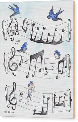 Fur Elise Song Birds Wood Print by Theresa Stinnett