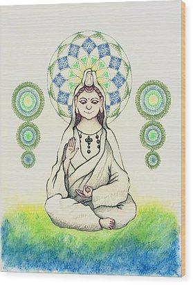 Fureai Quan Yin In Kyoto Wood Print by Keiko Katsuta