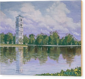 Wood Print featuring the painting Furman University Clock Tower by Robert Decker