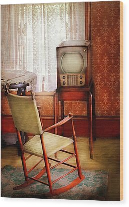 Furniture - Chair - The Invention Of Television  Wood Print by Mike Savad