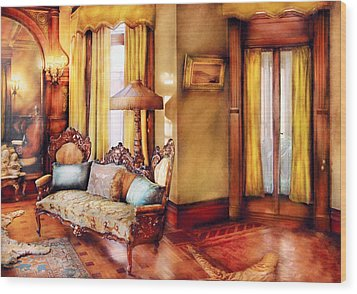 Furniture - Chair - The Queens Parlor Wood Print by Mike Savad