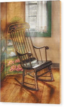 Furniture - Chair - The Rocking Chair Wood Print by Mike Savad