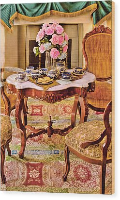 Furniture - Chair - The Tea Party Wood Print by Mike Savad