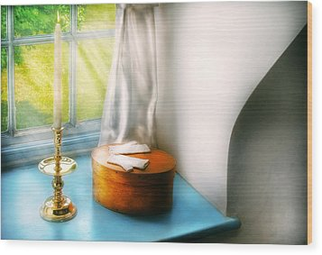 Furniture - Lamp - In The Window  Wood Print by Mike Savad