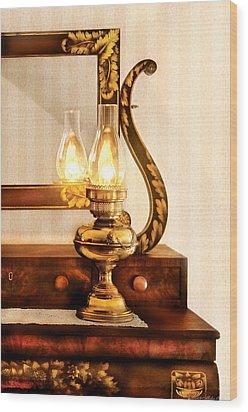 Furniture - Lamp - The Bureau And Lantern Wood Print by Mike Savad