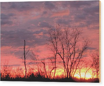 Fuschia And Purple Sunset Wood Print by Deborah Smolinske