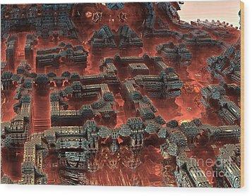 Future City In Red Wood Print by Bernard MICHEL