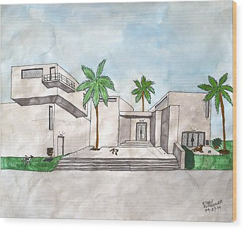 Architectural House  Wood Print by Ethan Altshuler