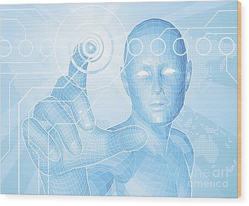 Future Man Touch Screen Concept Wood Print by Christos Georghiou