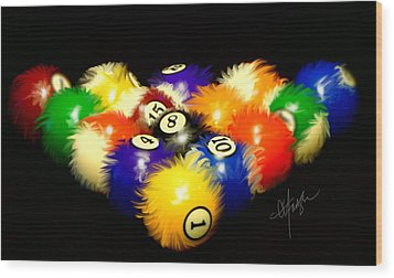 Fuzzy Billiards Wood Print by Chris Fraser