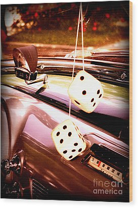 Fuzzy Dice Wood Print by Valerie Reeves
