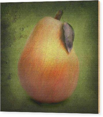 Wood Print featuring the digital art Fuzzy Pear by Nina Bradica
