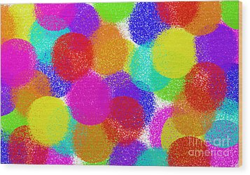 Fuzzy Polka Dots Wood Print by Andee Design