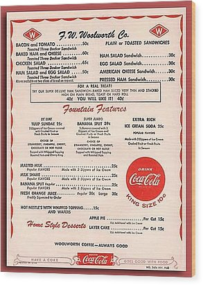 Fw Woolworth Lunch Counter Menu Wood Print by Thomas Woolworth